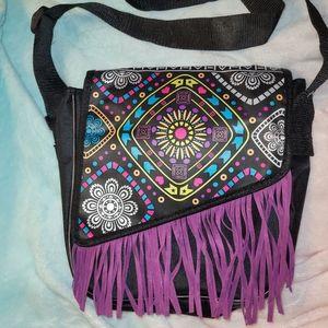 Fringe multi color satchel type purse